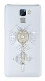 Huawei Honor 7 Taşlı Anahtar Şeffaf Silikon Kılıf