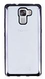Eiroo Color Fit Huawei Honor 7X Siyah Kenarlı Şeffaf Silikon Kılıf