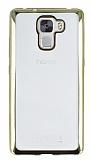 Eiroo Color Fit Huawei Honor 7X Gold Kenarlı Şeffaf Silikon Kılıf