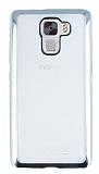 Eiroo Color Fit Huawei Honor 7X Silver Kenarlı Şeffaf Silikon Kılıf