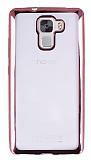 Eiroo Color Fit Huawei Honor 7X Rose Gold Kenarlı Şeffaf Silikon Kılıf