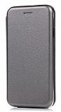 Huawei Mate 10 Pro Curve Manyetik Kapaklı Silver Deri Kılıf