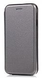 Huawei Mate 10 Curve Manyetik Kapaklı Silver Deri Kılıf
