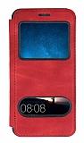 Huawei Mate 10 Lite Çift Pencereli Kapaklı Kırmızı Kılıf