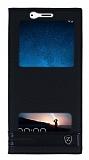 Huawei Mate 10 Lite Gizli Mıknatıslı Pencereli Siyah Deri Kılıf