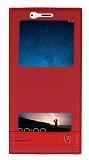 Huawei Mate 10 Lite Gizli Mıknatıslı Pencereli Kırmızı Deri Kılıf