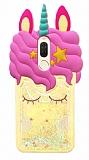 Huawei Mate 10 Lite Sulu Simli Unicorn Sarı Silikon Kılıf
