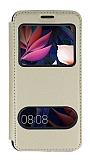 Huawei Mate 10 Pro Çift Pencereli Kapaklı Gold Kılıf