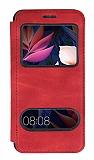 Huawei Mate 10 Pro Çift Pencereli Kapaklı Kırmızı Kılıf