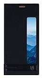 Huawei Mate 10 Pro Gizli Mıknatıslı Pencereli Siyah Deri Kılıf