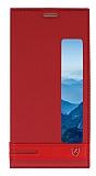 Huawei Mate 10 Pro Gizli Mıknatıslı Pencereli Kırmızı Deri Kılıf