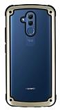 Huawei Mate 20 Lite Jelly Bumper Şeffaf Ultra Koruma Gold Kılıf
