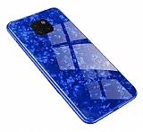 Huawei Mate 20 Pro Desenli Silikon Kenarlı Mavi Rubber Kılıf