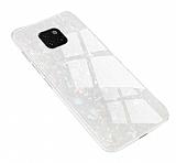 Huawei Mate 20 Pro Desenli Silikon Kenarlı Beyaz Rubber Kılıf