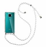 Huawei Mate 30 Lite Beyaz Çizgili Askılı Şeffaf Silikon Kılıf