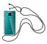 Huawei Mate 30 Lite Çizgili Askılı Şeffaf Silikon Kılıf