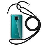 Huawei Mate 30 Lite Siyah Askılı Şeffaf Silikon Kılıf
