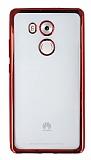 Huawei Mate 8 Kırmızı Kenarlı Şeffaf Silikon Kılıf