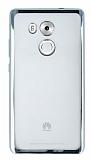 Huawei Mate 8 Silver Kenarlı Şeffaf Silikon Kılıf