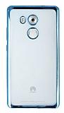 Huawei Mate 8 Mavi Kenarlı Şeffaf Silikon Kılıf