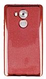 Huawei Mate 8 Taşlı Kenarlı Simli Kırmızı Silikon Kılıf