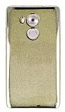 Huawei Mate 8 Taşlı Kenarlı Simli Gold Silikon Kılıf