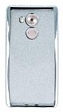 Huawei Mate 8 Taşlı Kenarlı Simli Silver Silikon Kılıf