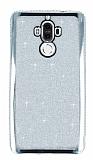Huawei Mate 9 Taşlı Kenarlı Simli Silver Silikon Kılıf