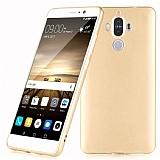 Huawei Mate 9 Tam Kenar Koruma Gold Rubber Kılıf