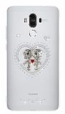 Huawei Mate 9 Taşlı Love Şeffaf Silikon Kılıf