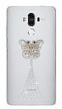 Huawei Mate 9 Taşlı Kelebek Şeffaf Silikon Kılıf
