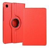 Huawei MatePad T10 / T10S 360 Derece Döner Standlı Kırmızı Deri Kılıf