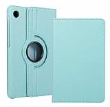 Huawei MatePad T10 / T10S 360 Derece Döner Standlı Mavi Deri Kılıf