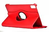 Huawei MatePad 10.4 360 Derece Döner Standlı Kırmızı Deri Kılıf