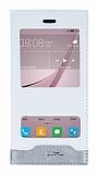 Huawei Nova Gizli Mıknatıslı Çift Pencereli Beyaz Deri Kılıf