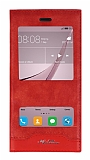 Huawei Nova Gizli Mıknatıslı Çift Pencereli Kırmızı Deri Kılıf