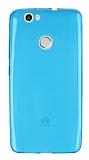Huawei Nova Ultra İnce Şeffaf Mavi Silikon Kılıf