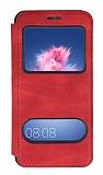 Huawei P Smart Çift Pencereli Kapaklı Kırmızı Kılıf
