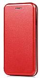 Huawei P Smart Curve Manyetik Kapaklı Kırmızı Deri Kılıf