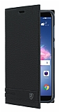 Huawei P Smart Gizli Mıknatıslı Yan Kapaklı Siyah Deri Kılıf