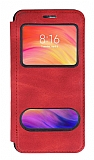 Huawei P Smart Pro 2019 Çift Pencereli Kapaklı Kırmızı Kılıf