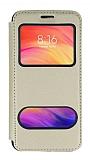 Huawei P Smart Pro 2019 Çift Pencereli Kapaklı Gold Kılıf