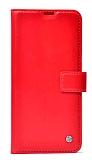 Huawei P Smart S Kapaklı Cüzdanlı Kırmızı Deri Kılıf