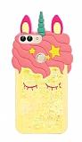 Huawei P Smart Sulu Simli Unicorn Sarı Silikon Kılıf