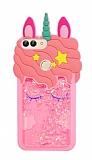 Huawei P Smart Sulu Simli Unicorn Pembe Silikon Kılıf