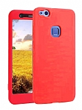 Huawei P10 Lite 360 Derece Koruma Likit Kırmızı Silikon Kılıf