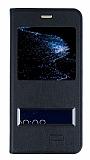 Huawei P10 Lite Pencereli İnce Kapaklı Siyah Kılıf