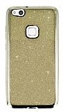 Huawei P10 Lite Taşlı Kenarlı Simli Gold Silikon Kılıf