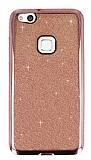 Huawei P10 Lite Taşlı Kenarlı Simli Rose Gold Silikon Kılıf