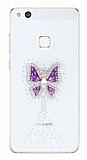 Huawei P10 Lite Taşlı Kelebek Şeffaf Silikon Kılıf